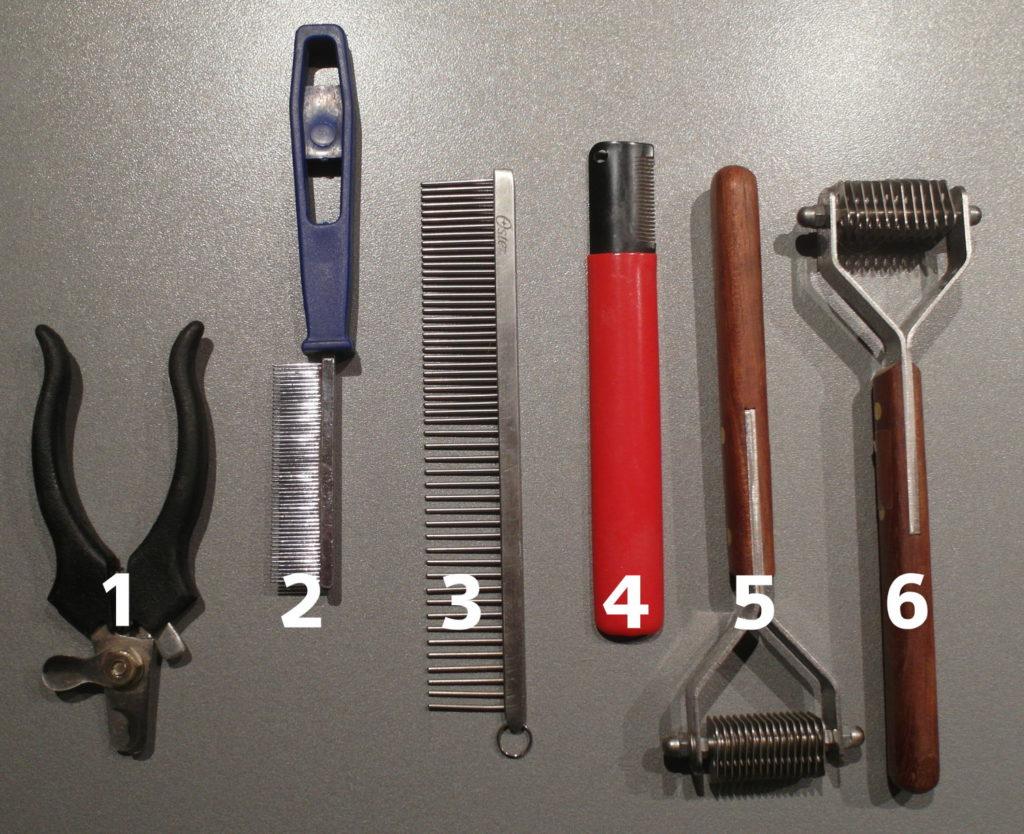 1. Krallenschere, 2. feiner Kamm für Katzenfell, 3. Frisierkamm, 4. Trimm-Messer, 5. Coat King grob, 6. Coat King fein